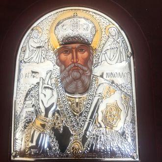 Икона Святитель Николай. Греция. Серебро 925