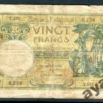МАДАГАСКАР 1937-1947  20 Франков