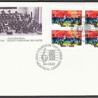 Канада 1984 МУЗЫКА СИМФОНИЧЕСКИЙ ОРКЕСТР МУЗЫКАНТЫ МУЗЫКАЛЬНЫЕ ИНСТРУМЕНТЫ КПД Mi.904 х4шт.