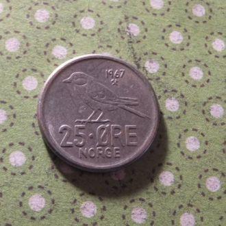 Норвегия монета 25 эре 1967 год !