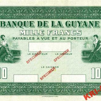 French Guiana 1000 франков 1942 год. КОПИЯ