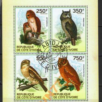 Кот д'Ивуар 2014 Птицы хищные Совы Сыч блок