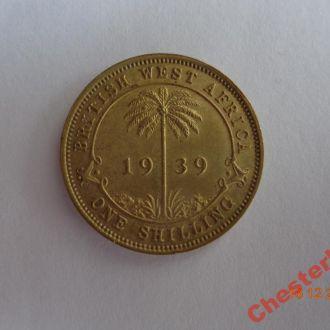 Британская Западная Африка 1 шиллинг 1939 George VI СУПЕР состояние