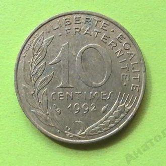 10 Сантим 1992 г Франция 10 Сантім 1992 р Франція