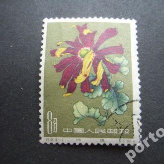 марка Китай 1960 хризантема 8 фынь