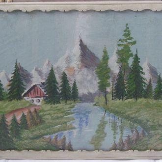 Интересный пейзаж *Одинокая избушка*,60-е гг.