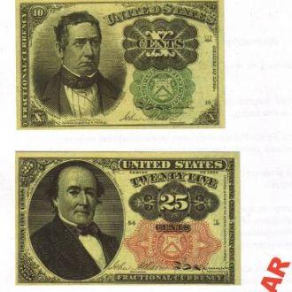 Комплект банкнот-сентовиков 1874-75 гг. 5 в. КОПИЯ