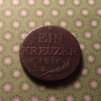 Австрия 1816 год монета 1 крейцер !