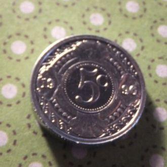 Антилы монета 5 центов 1996 год Антильские острова !