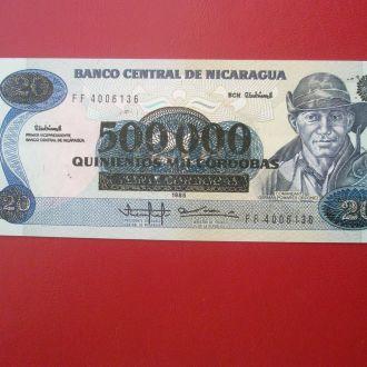 Нікарагуа 1990 рік 500000 на 20 кордобас UNC.