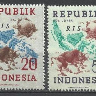 Индонезия локал 1949 карта фауна ВПС надп. 4м.**