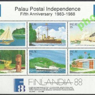 Палау 1988 транспорт корабли парусник бл.**