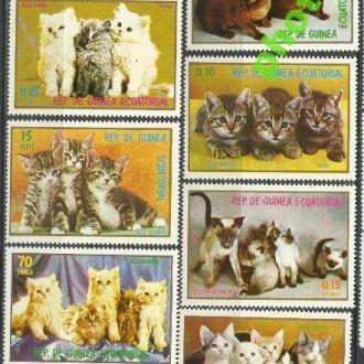 Гвинея Экватор. 1976 фауна коты 7м.**