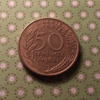 Франция 1963 год монета 50 сентимов !