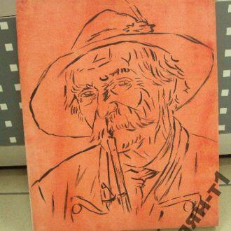 картина портрет гуцул мужчина с трубкой