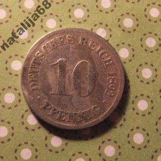 Германия монета 10 пфенингов 1892 год D