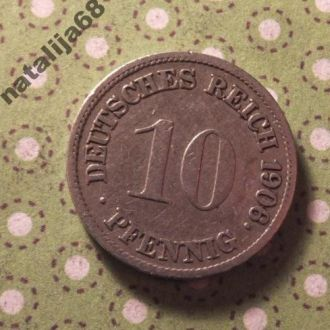 Германия 1906 год монета 10 пфенингов G