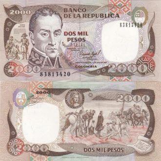 Colombia Колумбия - 2000 Pesos 1993 UNC JavirNV