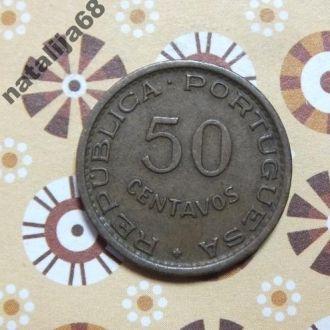 Мозамбик Португальский 1957 год монета 50 сентаво