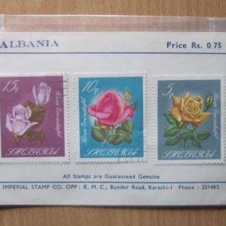 буклет 3 марки Албания 1967 розы