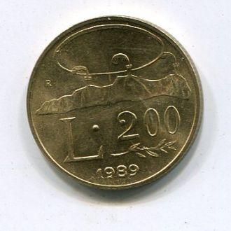 Сан Марино 200 лир 1989 UNC запайка