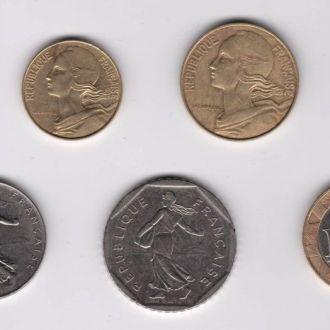 5,10, 20 сантимов, 1/2, 1, 2, 10 франков = ФРАНЦИЯ