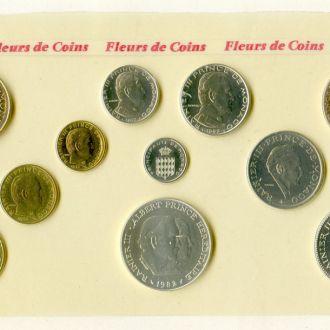 Монако. Набор 11 монет 1982 BU
