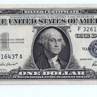 $1 доллар США 1957 SILVER CERT  UNC F32616437A  48