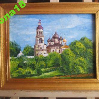 Картина. Церковь Масло ДВП. худ Иванова В.В. 47*37