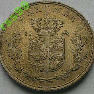 Дания 5 крон 1969  РЕДКИЙ год ТИРАЖ 72 000шт