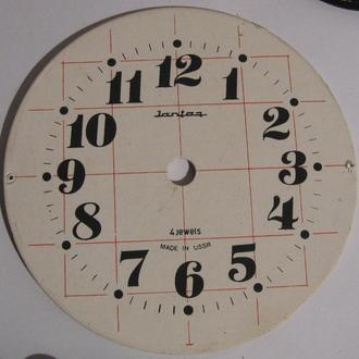 Циферблат на часы будильник Янтарь металл СССР экспортный вариант