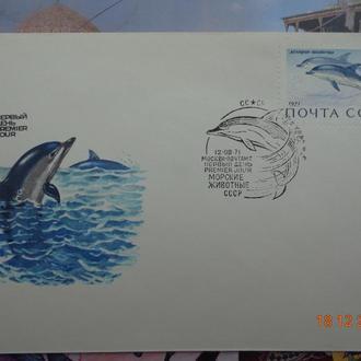 Конверт первого дня (КПД) №94. Морские животные СССР. Дельфин-белобочка (1971)