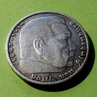 Германия 5 рейхсмарок 1935 год J Гинденбург. Серебро. (1-10). Еще 100 лотов!
