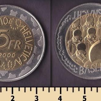 ШВЕЙЦАРИЯ 5 ФРАНКОВ 2000