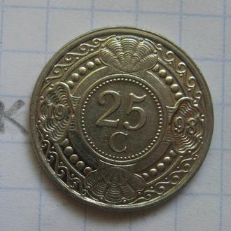 НИДЕРЛАНДСКИЕ АНТИЛЬСКИЕ ОСТРОВА, 25 центов 1998 года.