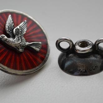 Знак в серебре, два серебряных клейма, эмаль.