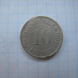 10 пфеннигов 1902 г. (G), Германия. Редкая.