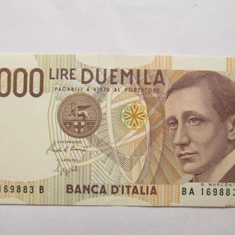 Италия  2000  лир  1990  год