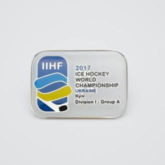хоккей-  значок Чемпионат Мира 2017 I дивизион Киев Украина
