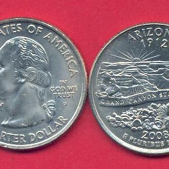 Монеты Америка США  25 центов 2008 г. Аризона.