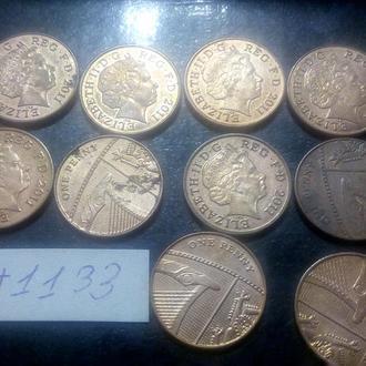 1 пенни 2011 Великобритания. Десять монет одним лотом!