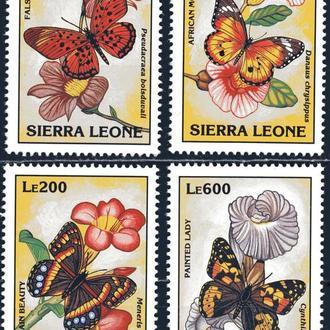 Сьерра-Леоне. Цветы и бабочки ** 1993 г.