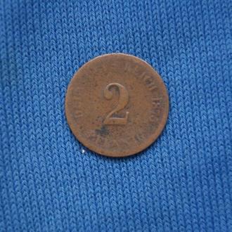 Германия 2 пфеннига 1975 г  A