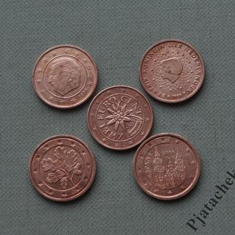 Набор монет 2 евроцента Нидерланды, Бельгия,  Испания, Германия, Австрия 5 шт.