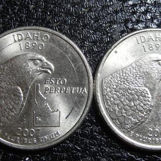 25 центів 2007 США Айдахо (два різновиди)