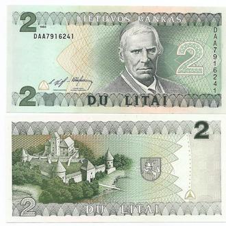 Литва 2 лита 1993 UNC