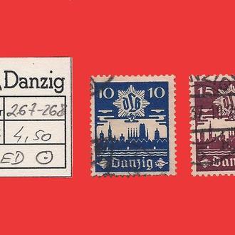 ✠ DANZIG Mi.267-268 Є4,50 1937 ✠Данциг ✠Гданьск ✠  DLB ✠