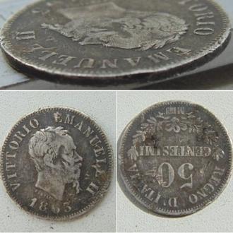 "Италия 50 чентезимо, 1863г.  Номинал на реверсе.  Отметка монетного двора: ""M"" - Милан"