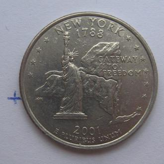 "США, 25 центов 2001 года (NEW YORK ""Д"")."