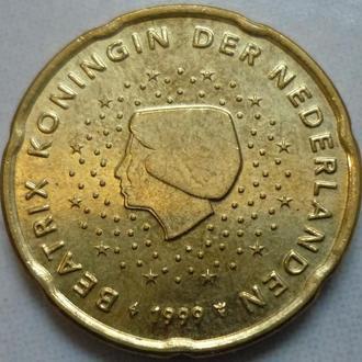 Нидерланды 20 евроцентов 1999 состояние